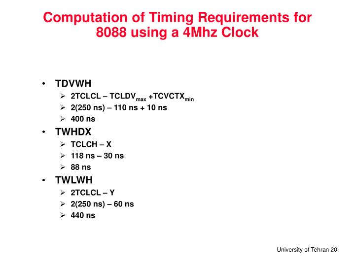 Computation of Timing Requirements for 8088 using a 4Mhz Clock
