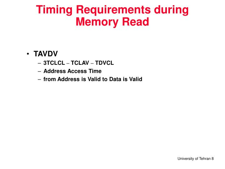 Timing Requirements during Memory Read
