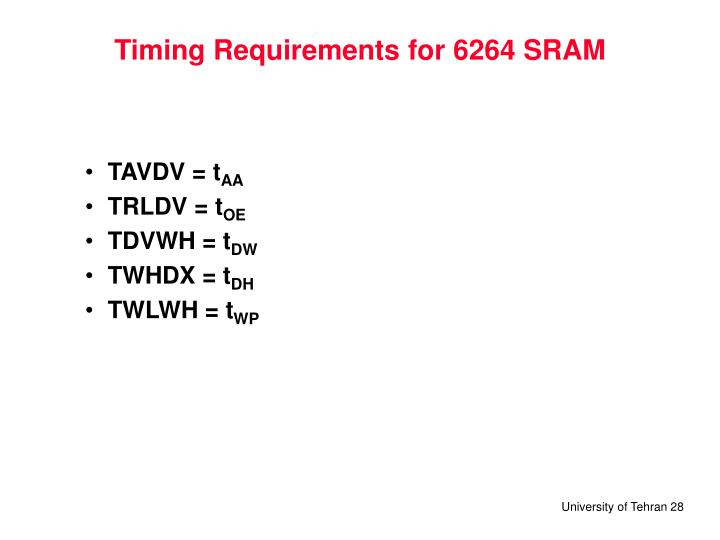 Timing Requirements for 6264 SRAM