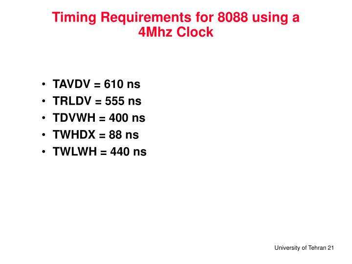 Timing Requirements for 8088 using a 4Mhz Clock