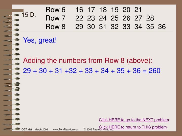 Row 6     16  17  18  19  20  21
