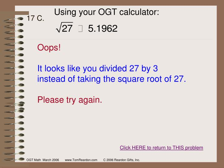 Using your OGT calculator: