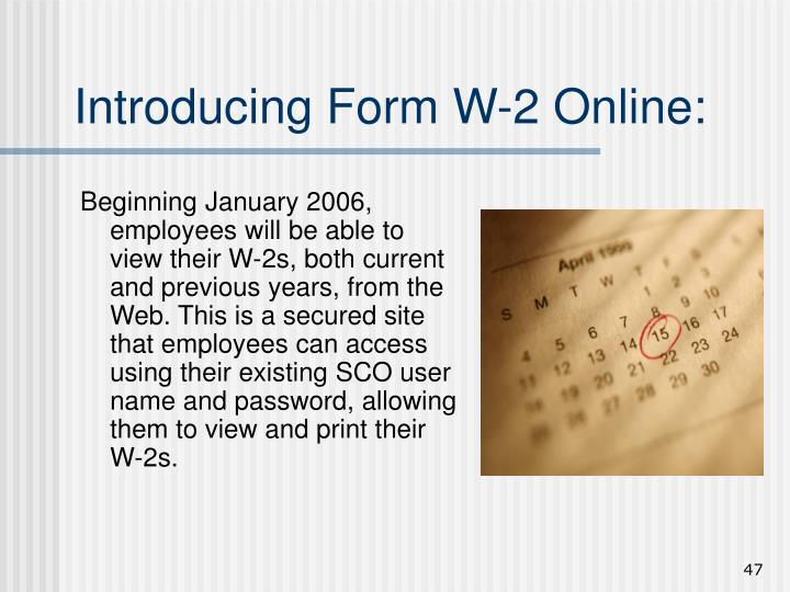 Introducing Form W-2 Online: