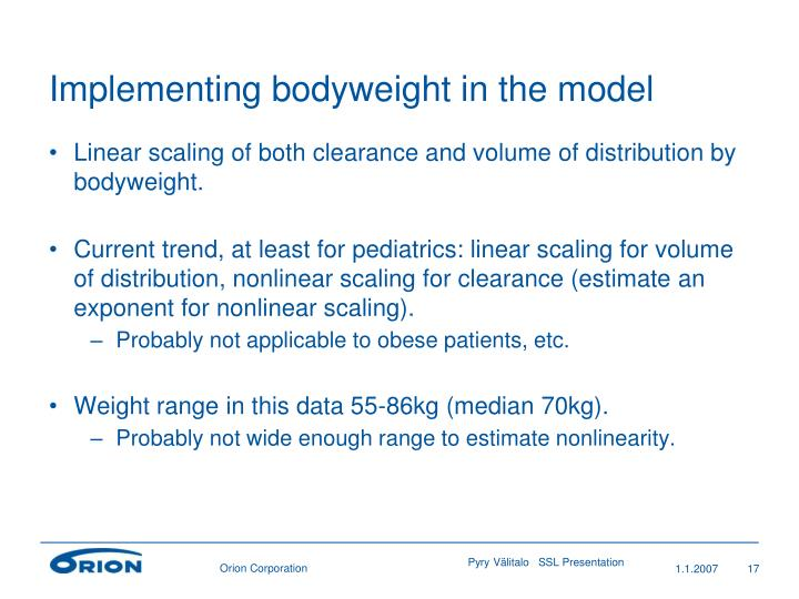 Implementing bodyweight in the model