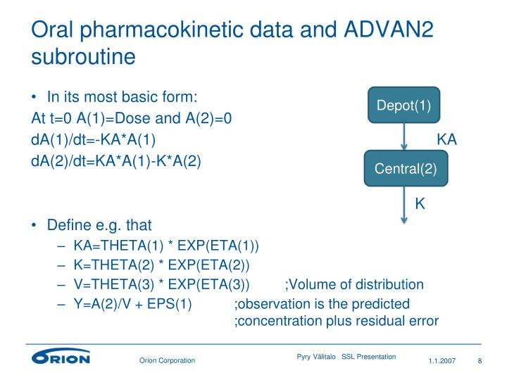 Oral pharmacokinetic data and ADVAN2 subroutine