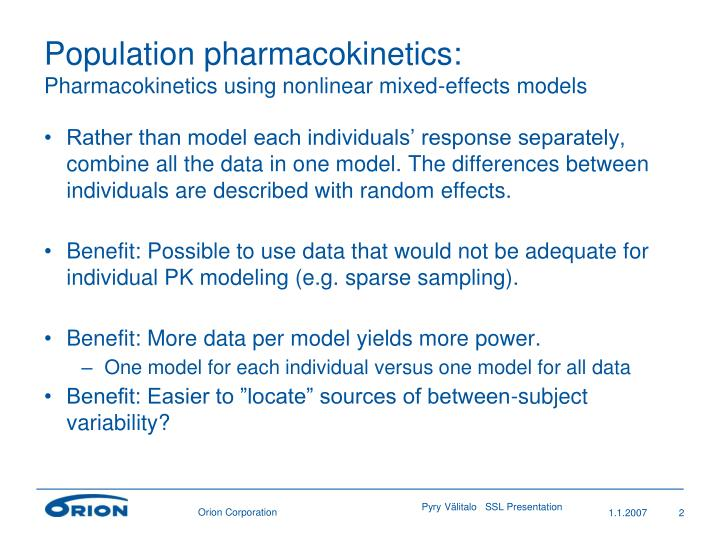 Population pharmacokinetics pharmacokinetics using nonlinear mixed effects models