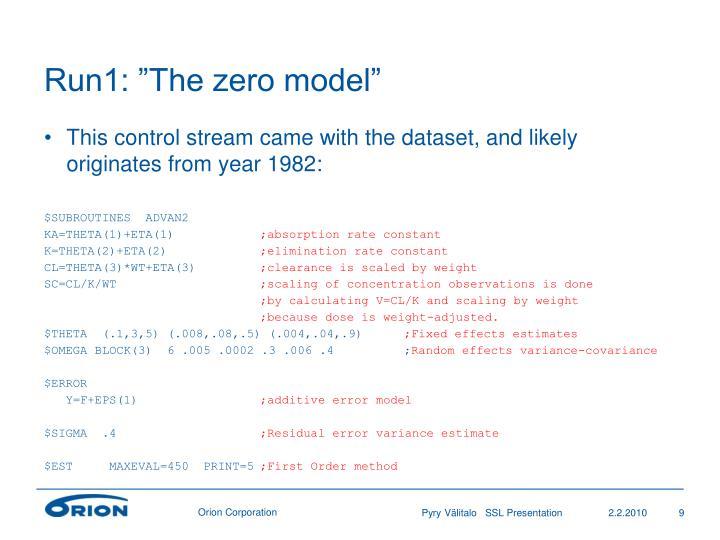"""Run1: """"The zero model"""""""