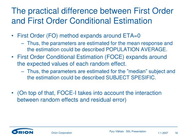 The practical difference between First Order and First Order Conditional Estimation