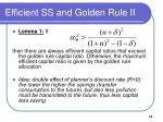 efficient ss and golden rule ii