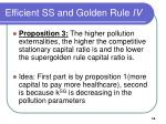 efficient ss and golden rule iv