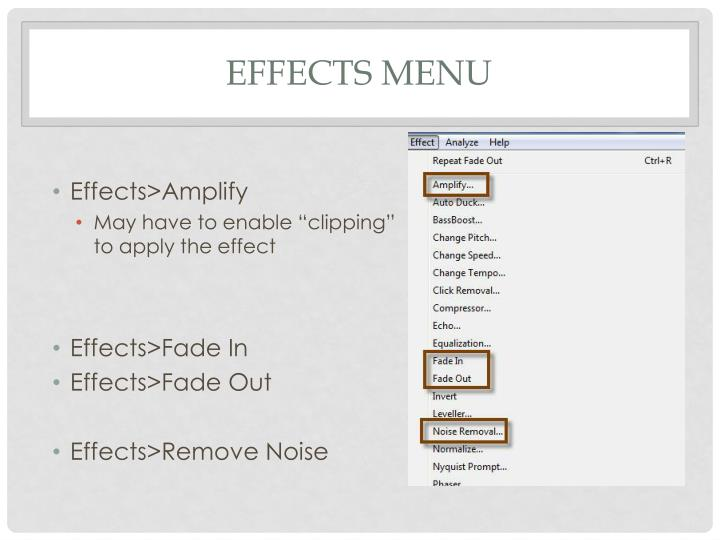 Effects menu