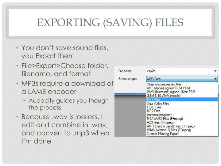exporting (Saving) files
