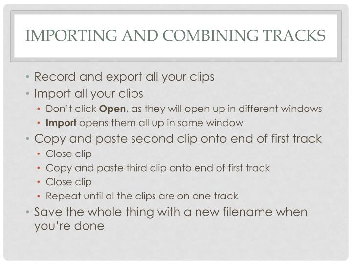 Importing and Combining