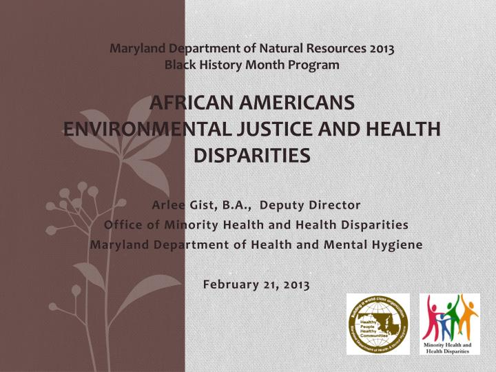 Maryland Department of Natural Resources 2013