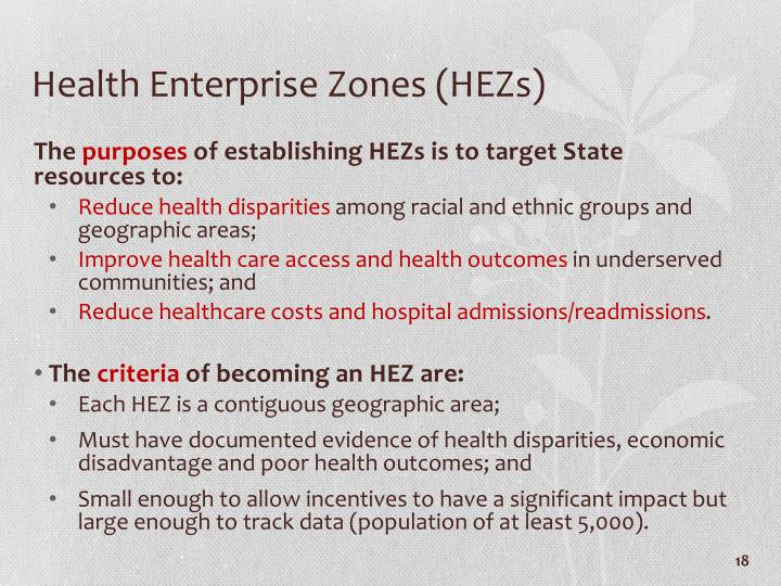 Health Enterprise Zones (HEZs)