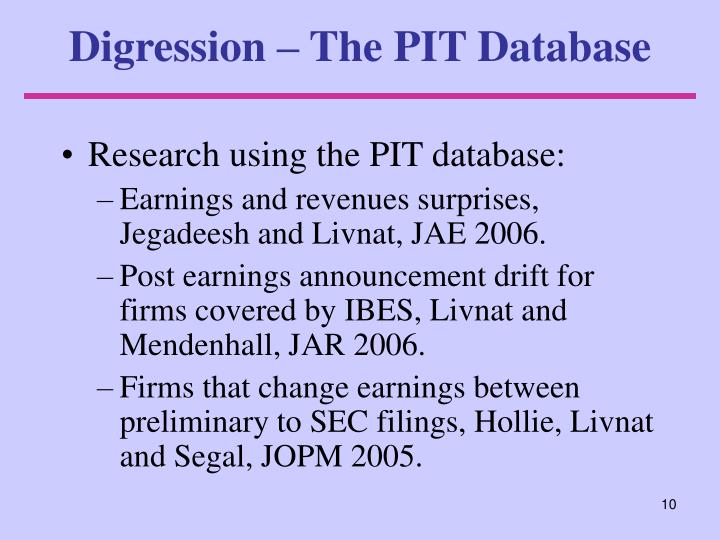 Digression – The PIT Database