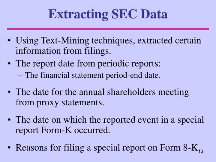Extracting SEC Data