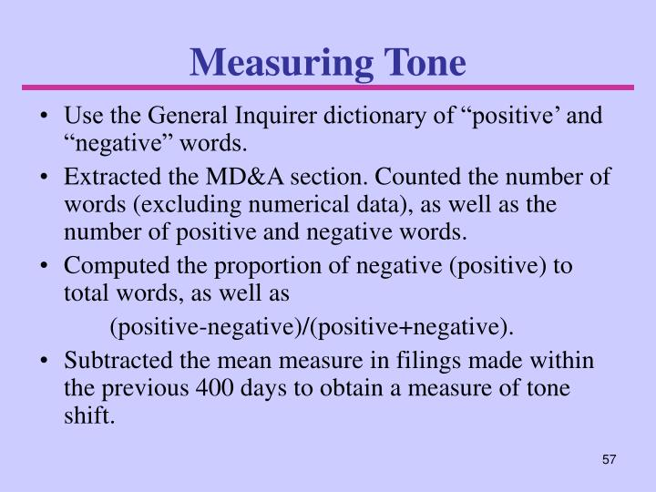 Measuring Tone