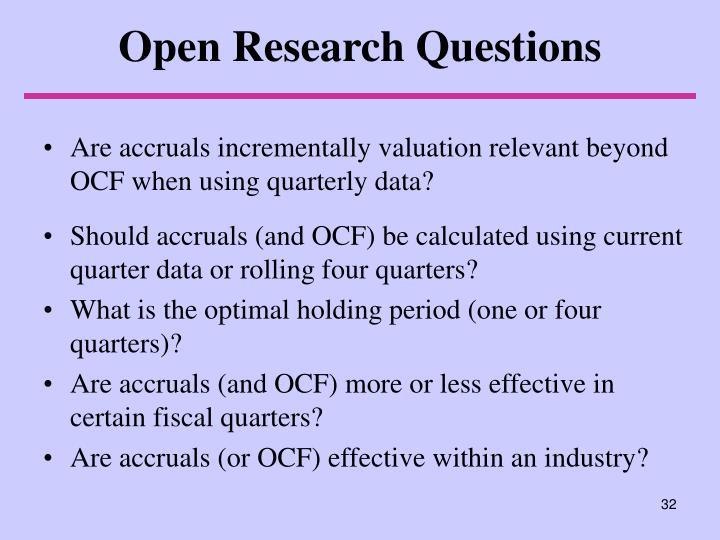 Open Research Questions