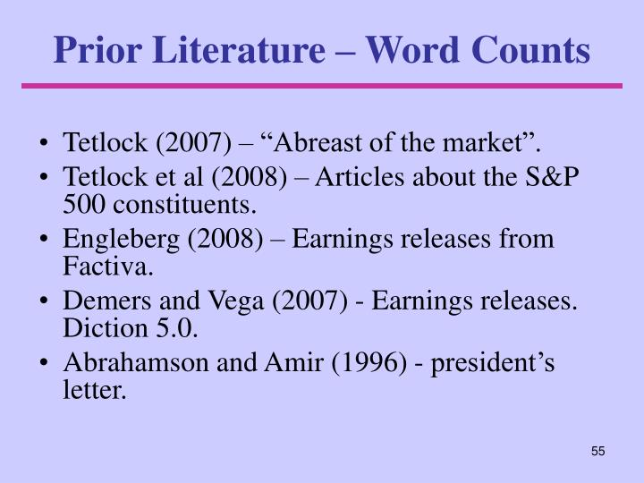 Prior Literature – Word Counts