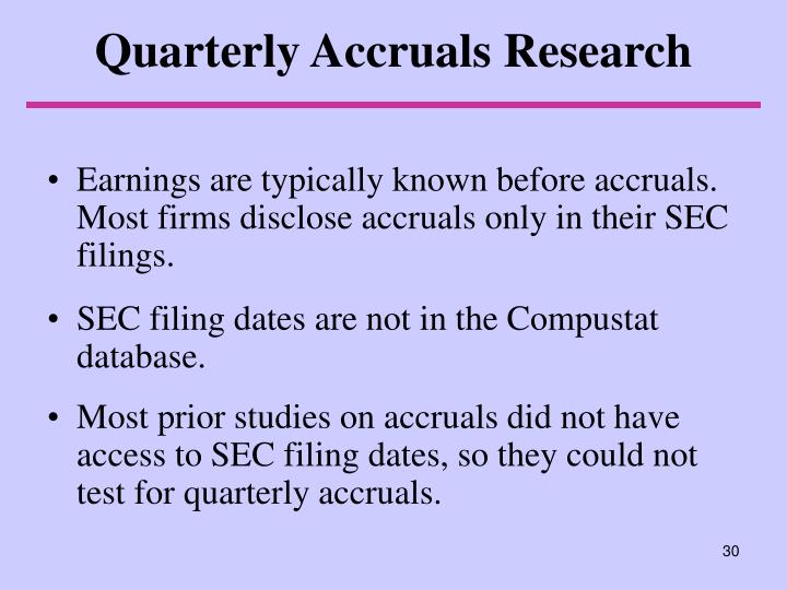 Quarterly Accruals Research