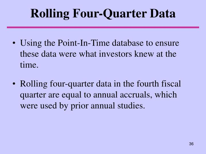 Rolling Four-Quarter Data