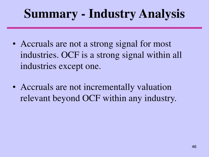Summary - Industry Analysis