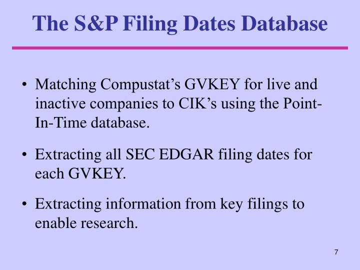 The S&P Filing Dates Database