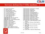 services defined for 5 ghz medium 1