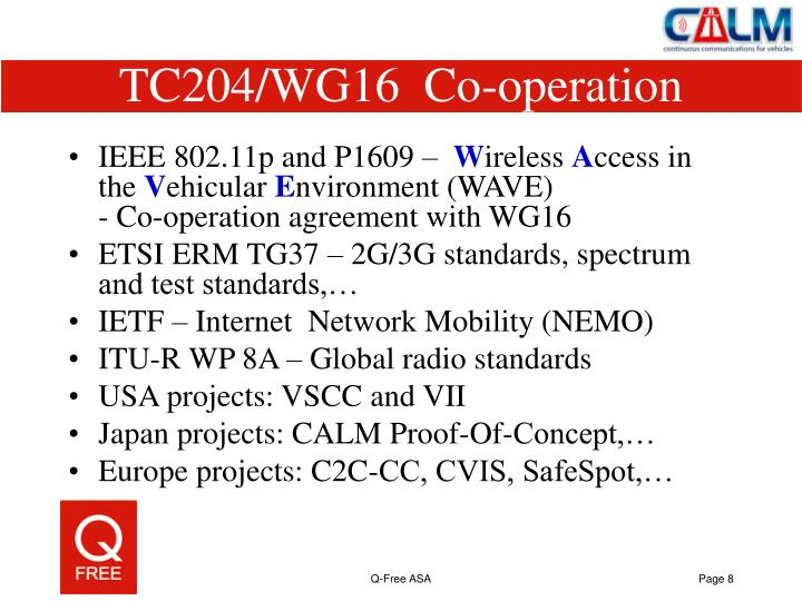 TC204/WG16  Co-operation