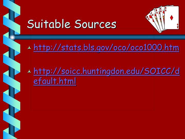Suitable Sources
