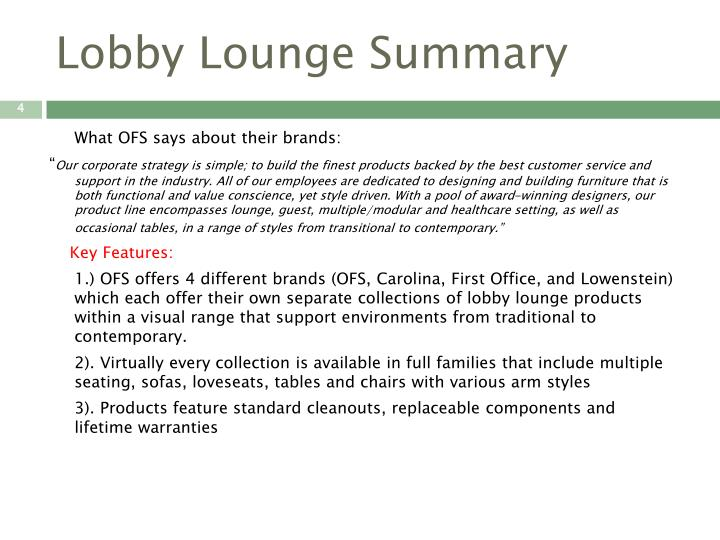 Lobby Lounge Summary