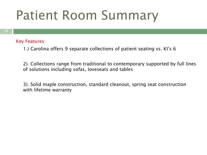 Patient Room Summary
