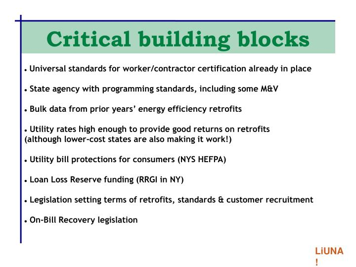 Critical building blocks