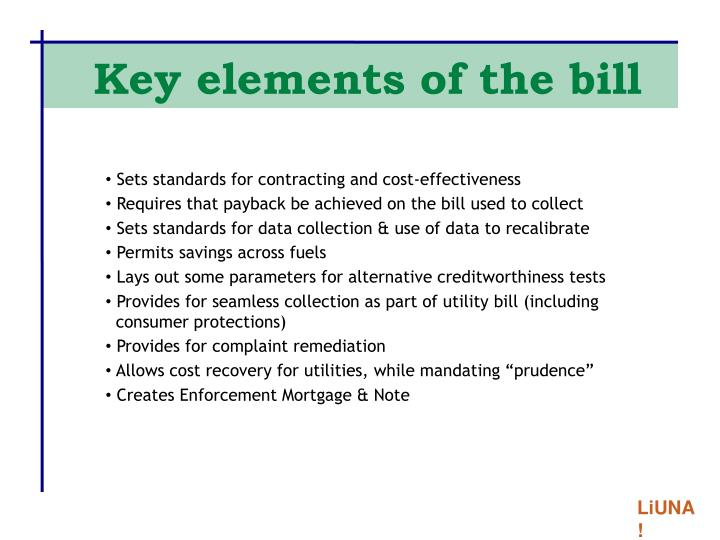 Key elements of the bill