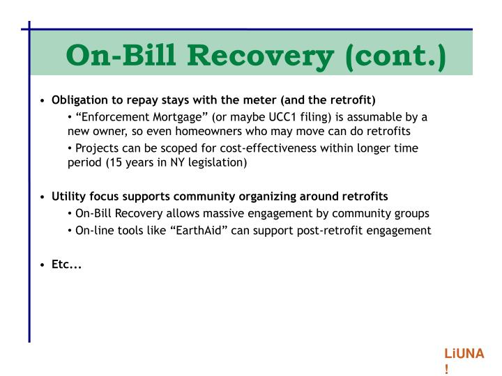 On-Bill Recovery (cont.)