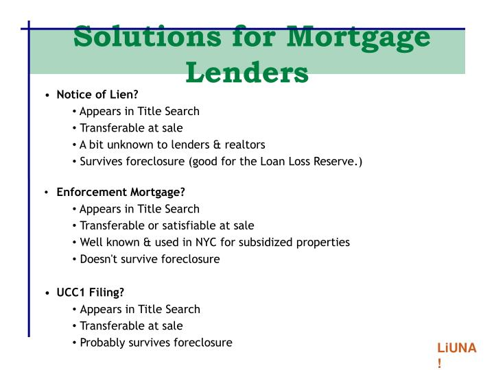 Solutions for Mortgage Lenders