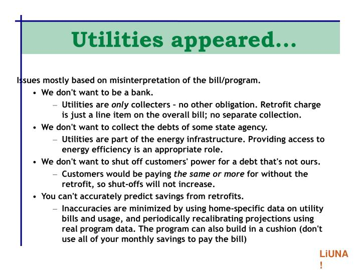 Utilities appeared...