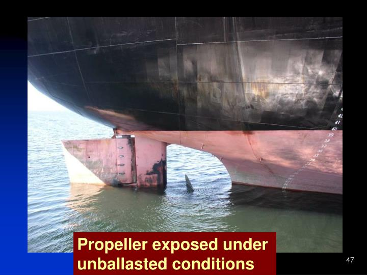 Propeller exposed under