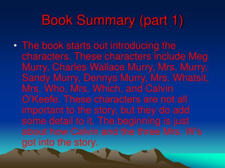Book Summary (part 1)