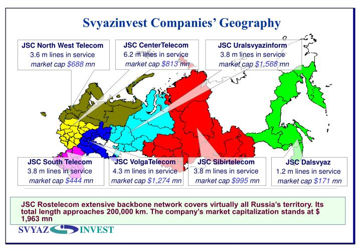 Svyazinvest Companies' Geography
