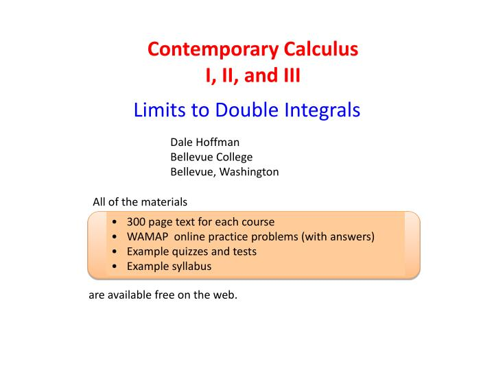 Contemporary Calculus