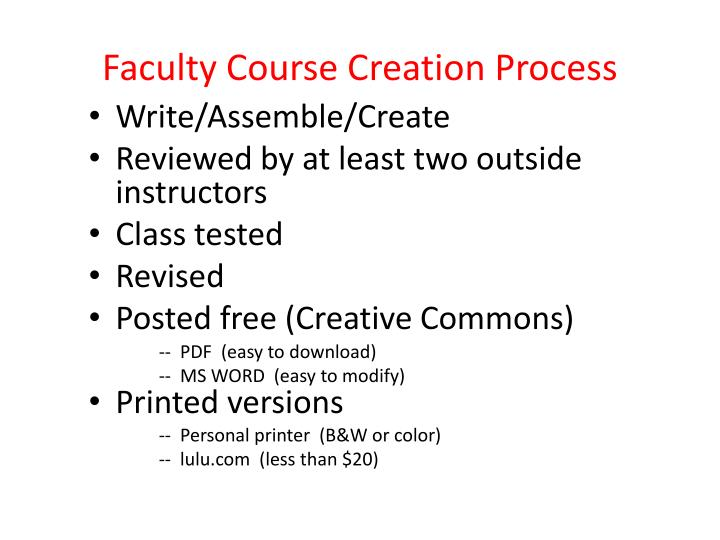 Faculty Course Creation Process
