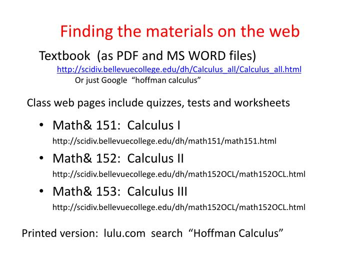 Finding the materials on the web