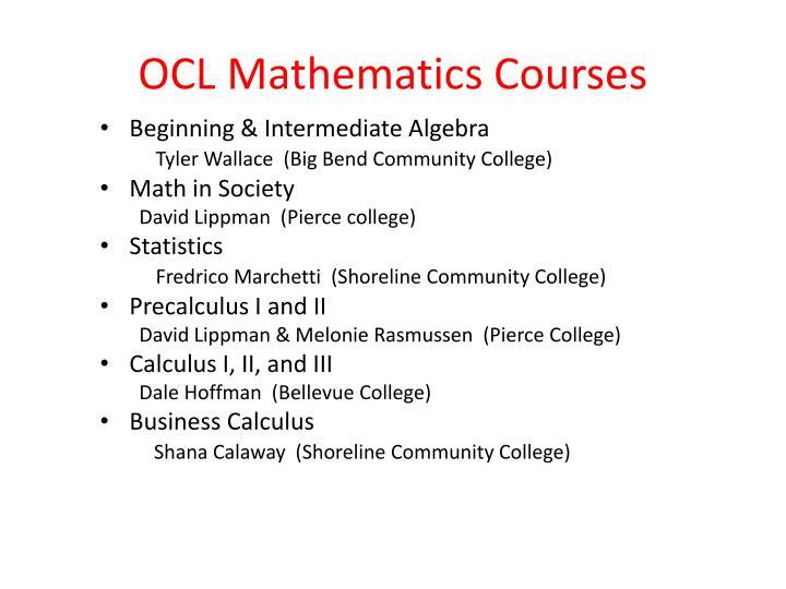 OCL Mathematics Courses