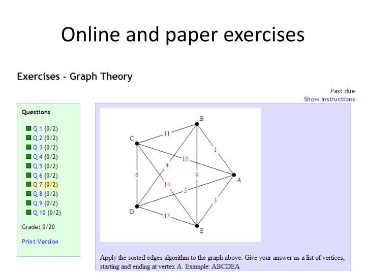 Online and paper exercises