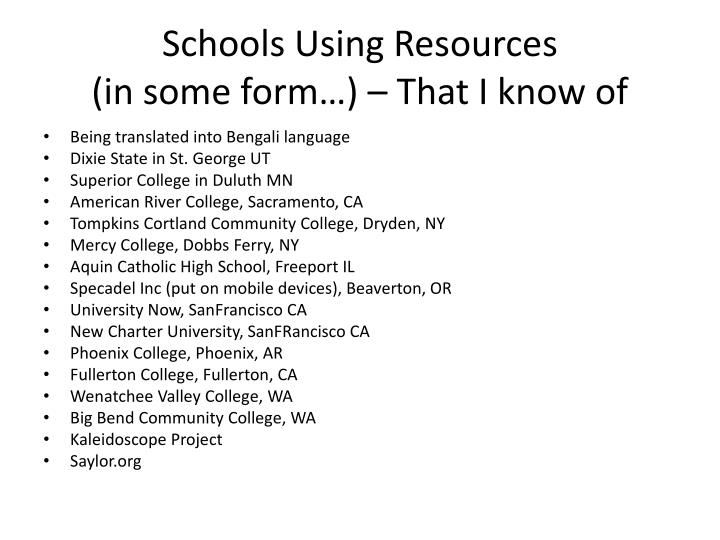 Schools Using Resources