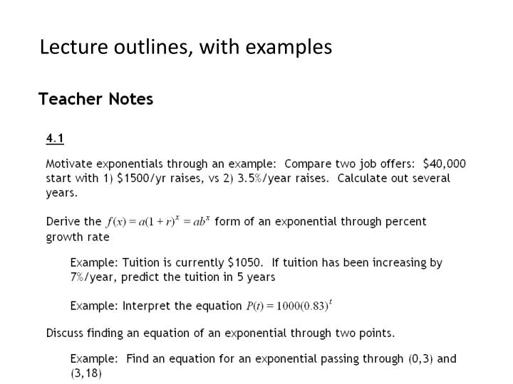 Lecture outlines, with examples