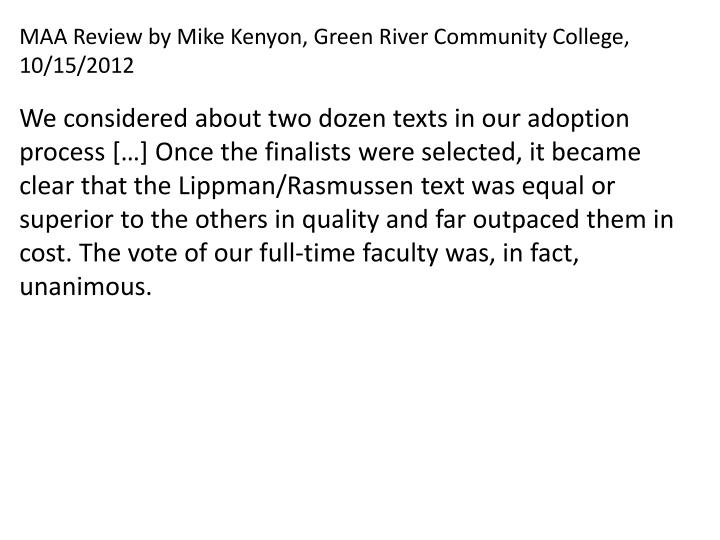 MAA Review by Mike Kenyon, Green River Community College, 10/15/2012