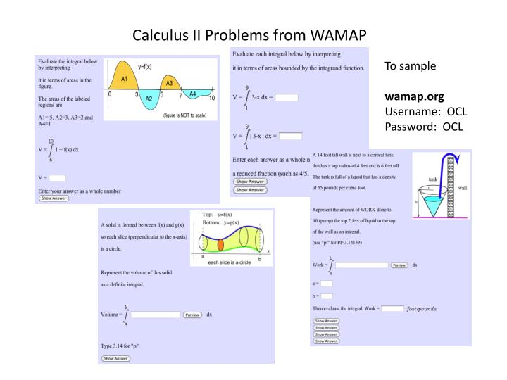 Calculus II Problems from WAMAP